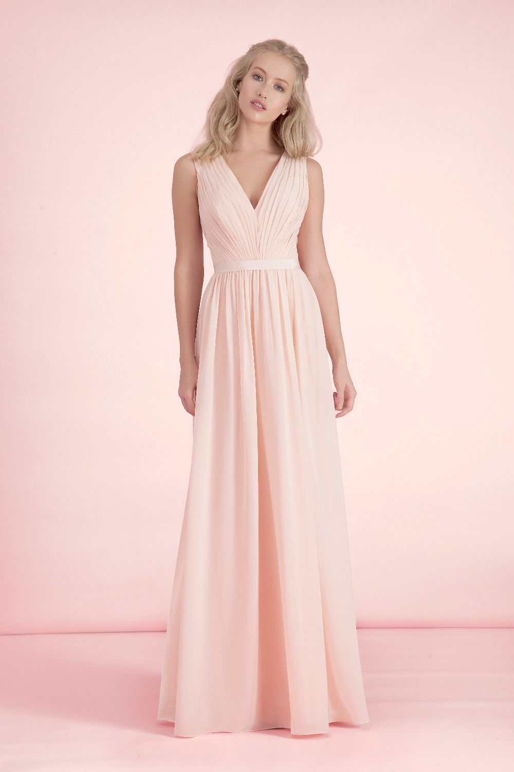 Moda elegante , Simple Light Pink dama de honor vestidos V cuello ...