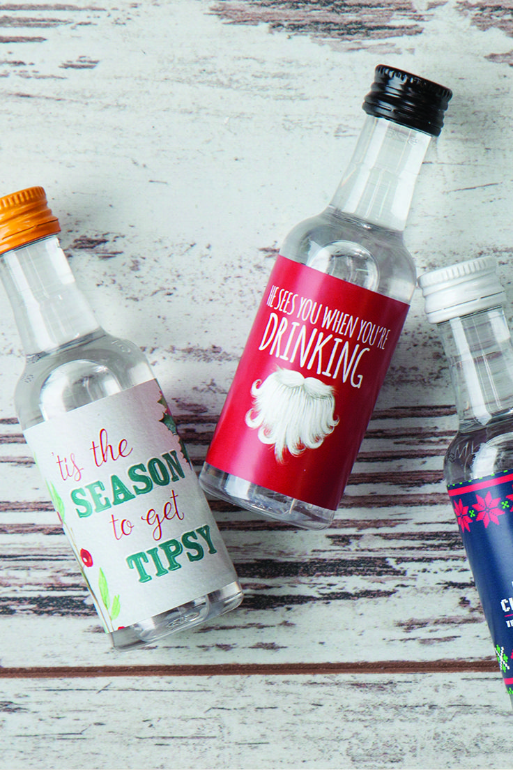 Give A Little Gift Of Liquor For Your Friends And Family To Enjoy Mini Liquor Label Mini Alcohol Bottles Gifts Christmas Goodie Bags Creative Christmas Gifts