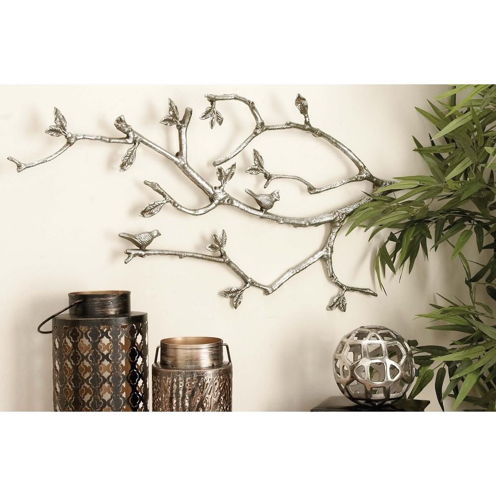 Litton Lane 37 In X 17 In Whitewashed Aluminum Tree Branch Wall Decor Wall Decor Plate Wall Decor Wall Sculptures