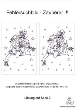 Fehlersuchbild Kinderraetsel mit dem Zauberer zum gratis ...