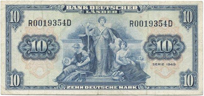 10 Deutsche Mark 1949 Allegorische Darstellungen Deutsche Mark Deutsche Marken