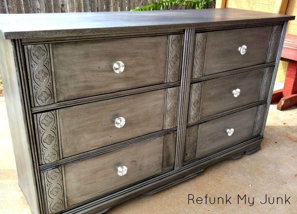 Metallic Silver Dresser Before After