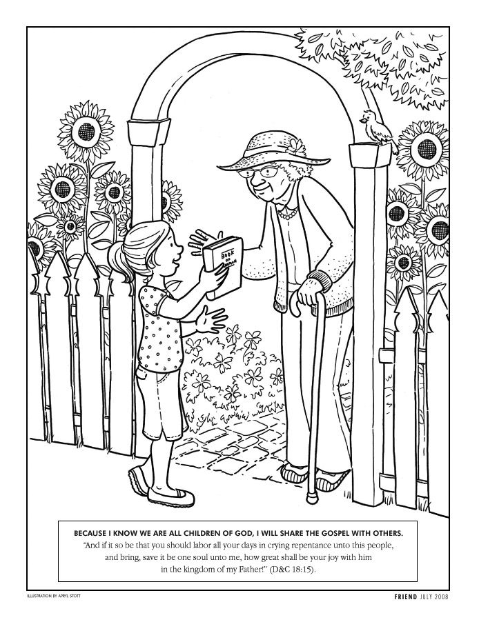 Girl Giving Book Of Mormon To Neighbor Coloring Pages People