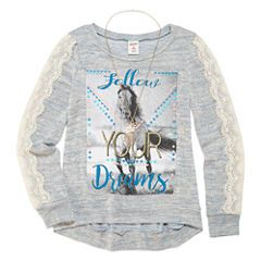 a01ceaf1dfa05 Arizona 3/4 Sleeve Lace Detail Graphic Top - Girls' 7-16 and Plus ...