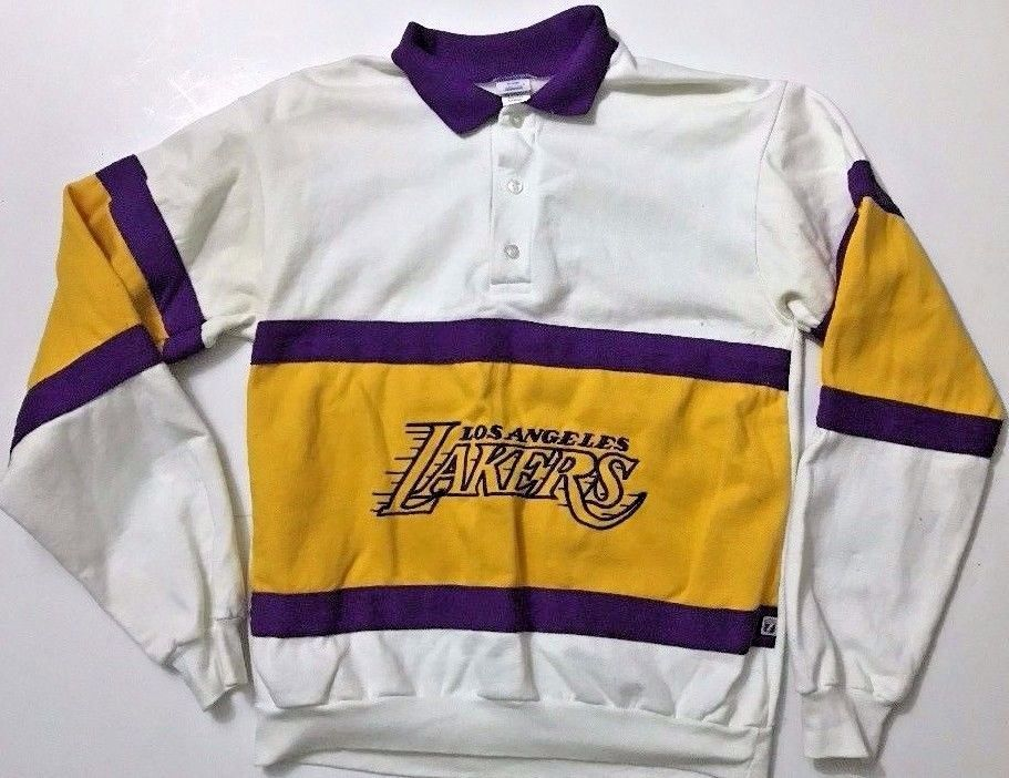 263154a52ee Vintage Los Angeles Lakers RUGBY POLO Shirt Long Sleeve SWEATSHIRT Size  Large  eBayDanna