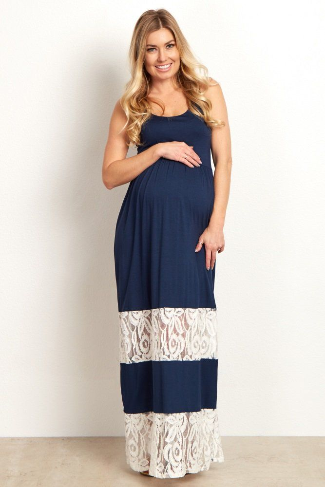 91cd8aa3f209 Navy Blue Lace Colorblock Maternity Maxi Dress