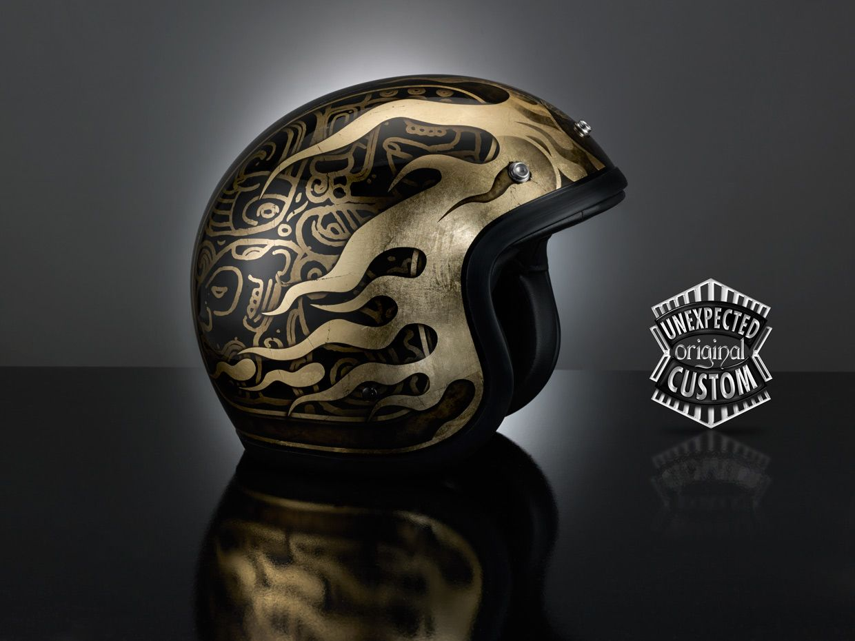 Custom Helmet EL MAYA The Rich And Luxurious Design Of This Original Is Inspired By Typical Signs Mayan Writing
