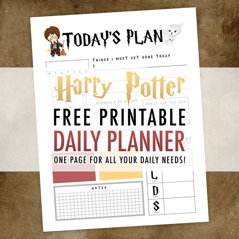 Harry Potter Free Printable Daily Planner The Cottage Market Harry Potter Free Harry Potter Calendar Harry Potter Printables Free