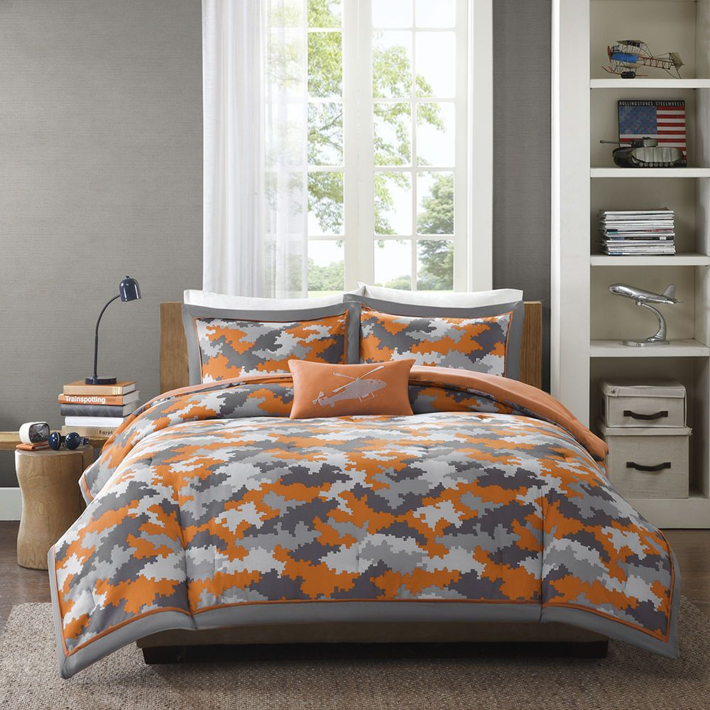 Brown and orange bedding - Details About Modern Boys Camo Army Camouflage Blue Brown Grey Navy Comforter Set Full Queen