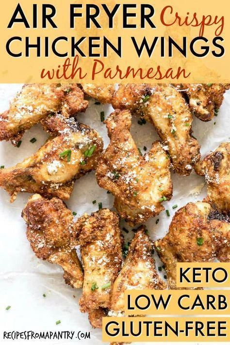 Air Fryer Chicken Wings with Parmesan are a family friendly, crowd pleasing and healthy dish to serve at your next game day get together! via @recipespantryCrispy Air Fryer Chicken Wings with Parmesan are a family friendly, crowd pleasing and healthy dish to serve at your next...