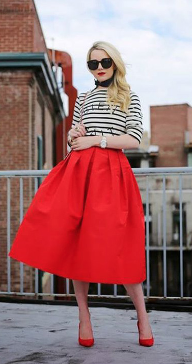 Red A-line Midi Skirt, I am really liking this stripes paired with ...