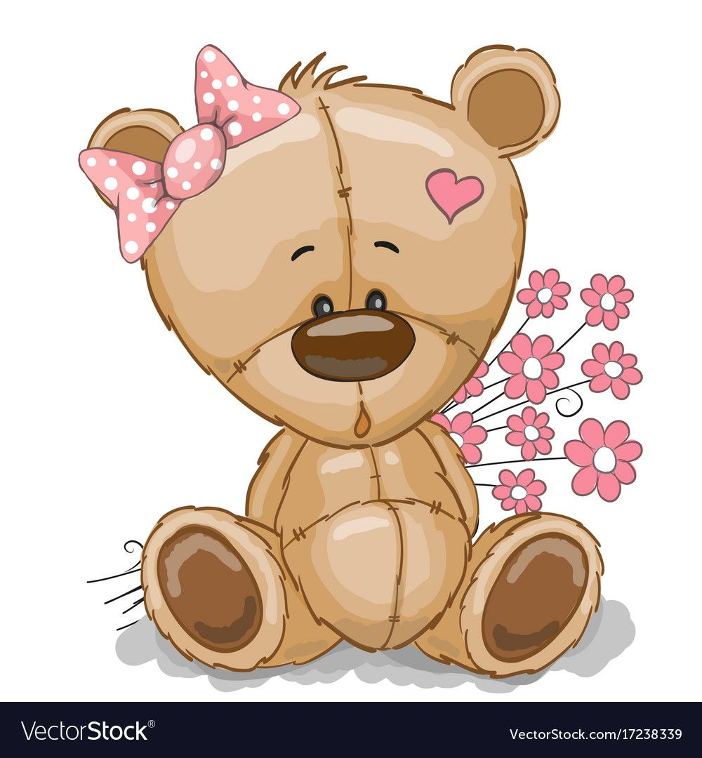 Teddy Bear Girl With Pink Flowers Isolated On White Download A Free Preview Or High Quality Adobe Illustra Cute Bear Drawings Teddy Bear Girl Cute Teddy Bears