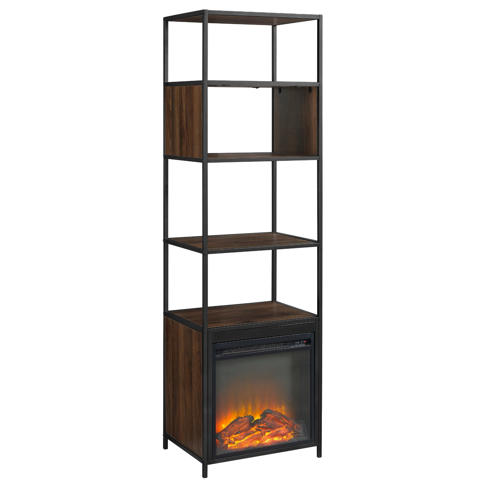 Wood 70 Inch Bookshelf With Fireplace