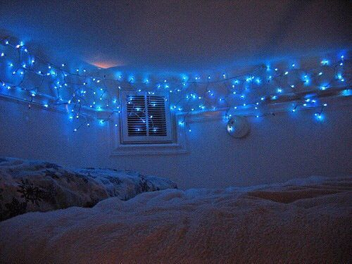 Blue Aesthetic Theme Tumblr Christmas Lights In Bedroom Blue