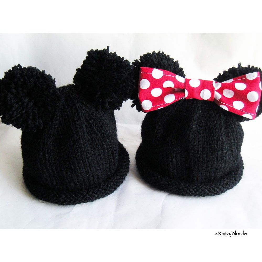 Cute idea for hand knit Mickey or Minnie, with pompoms for ears ...
