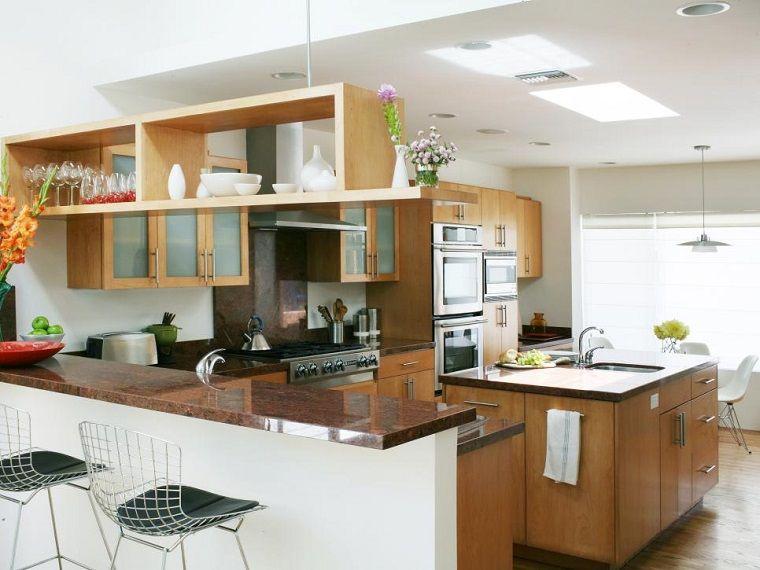 Cocina moderna en forma de u 50 ideas ultra originales for Barras de cocina modernas