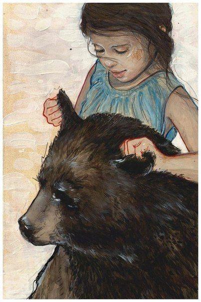 Открытка девушка с медведем