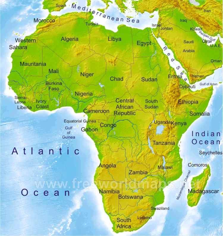 Mapa F�sico De África Los Recursos Naturales En: Africa Physical Map Countries At Slyspyder.com