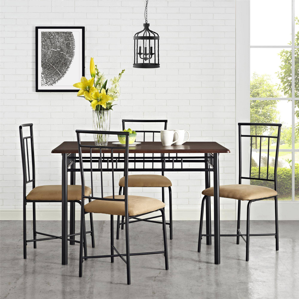Mainstays Louise Traditional 9 Piece Wood & Metal Dining Set, Deep ...