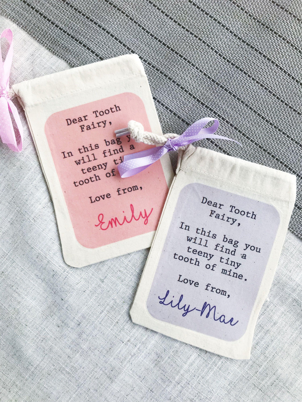 personalised tooth fairy bag, tooth fairy idea, personalised bag