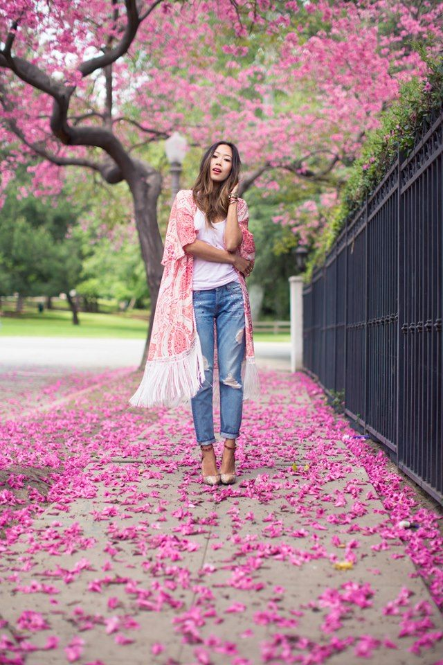 eb901097d9c Aimee Song of Song of Style having a magical pink moment in our Vintage 7  Embellished Boyfriend jeans.