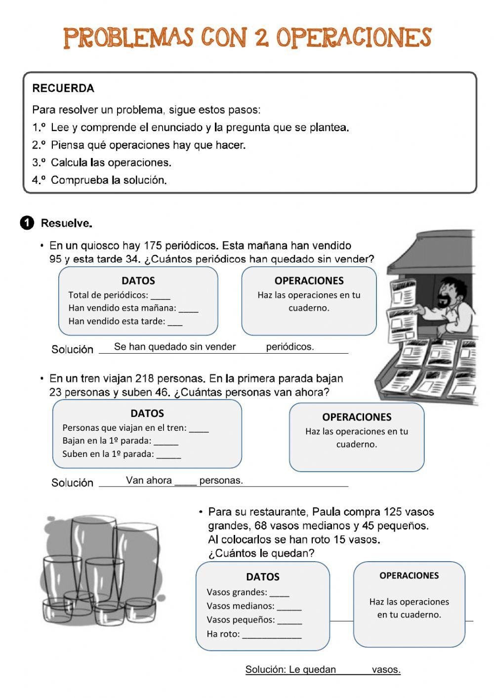 Problemas Con Dos Operaciones Ficha Interactiva Matematicas Tercero De Primaria Tercero De Primaria Ejercicios Matematicas Primaria