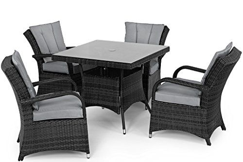 san diego rattan garden furniture houston grey 4 seater square table set - Rattan Garden Furniture 4 Seater