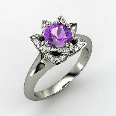 Lotus Ring. Amethyst, white gold, and diamonds.