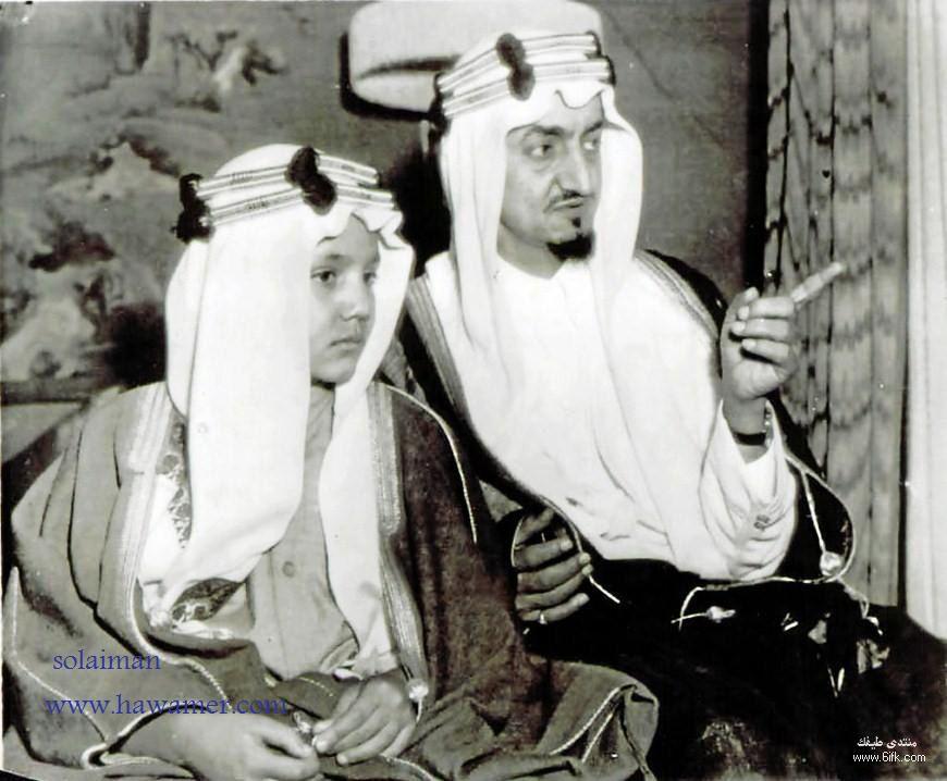 الملك فيصل مع آبنه الامير عبدالله الفيصل رحمهم الله 3 King Faisal Arab Celebrities History