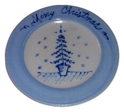 Rowe Pottery Works Merry Christmas Salt Glaze Plate  sc 1 st  Pinterest & Rowe Pottery Works Merry Christmas Salt Glaze Plate | Blue Christmas ...