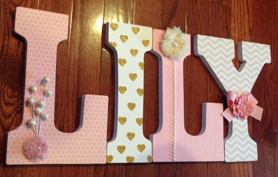 Letters for nursery Pink and gold Nursery name sign Heart wall decor