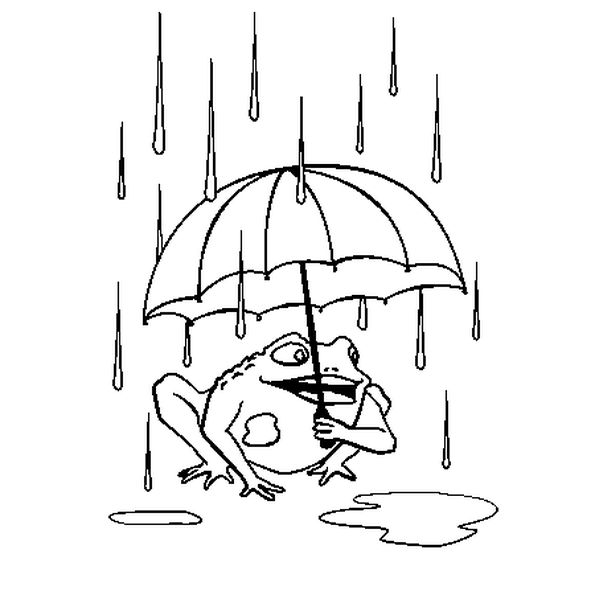 Coloriage Grenouille Avec Parapluie.Le Dessin Illustre La Comptine La Pluie Colorie La