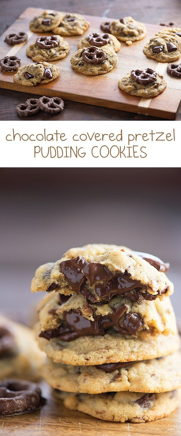 These easy pudding cookies always come out thick and chewy! I added chocolate covered pretzels to this batch.