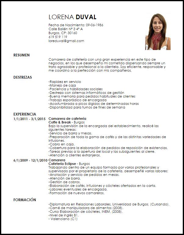 Curriculum Vitae Camarero Modelo De Curriculum Vitae Curriculum Vitae Curriculum Medical Assistant Resume