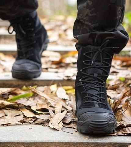 ac4d641e4b452 FREE SOLDIER All-Terrain Boots are functional and comfortable men's  tactical boots in black. Strong and durable, perfect for hiking, hunting,  ...