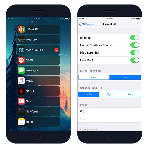 HomeList new app launcher tweak for jailbroken iOS
