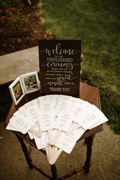 Wedding Ceremony Program Table Wood Side Table Outdoor Wedding Ceremony Des Moines I Wedding Ceremony Programs Ceremony Programs Outdoor Wedding Ceremony