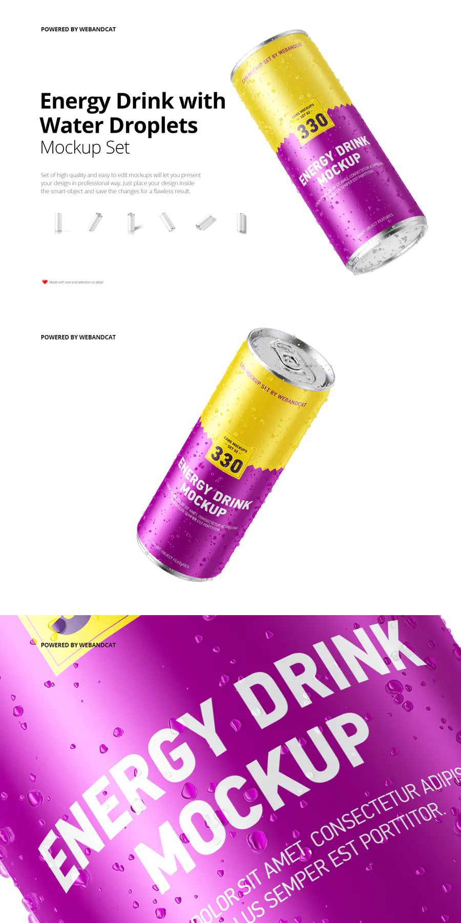 Energy drink can mockup with water droplets drinks