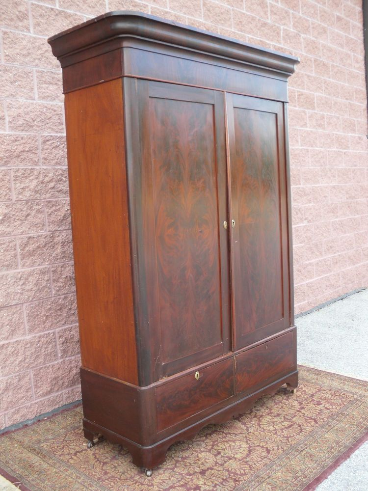 orig 19th C Antique Wardrobe Armoire Flame Mahogany Knock Down Wardrobe  Armoire #Empire - Orig 19th C Antique Wardrobe Armoire Flame Mahogany Knock Down