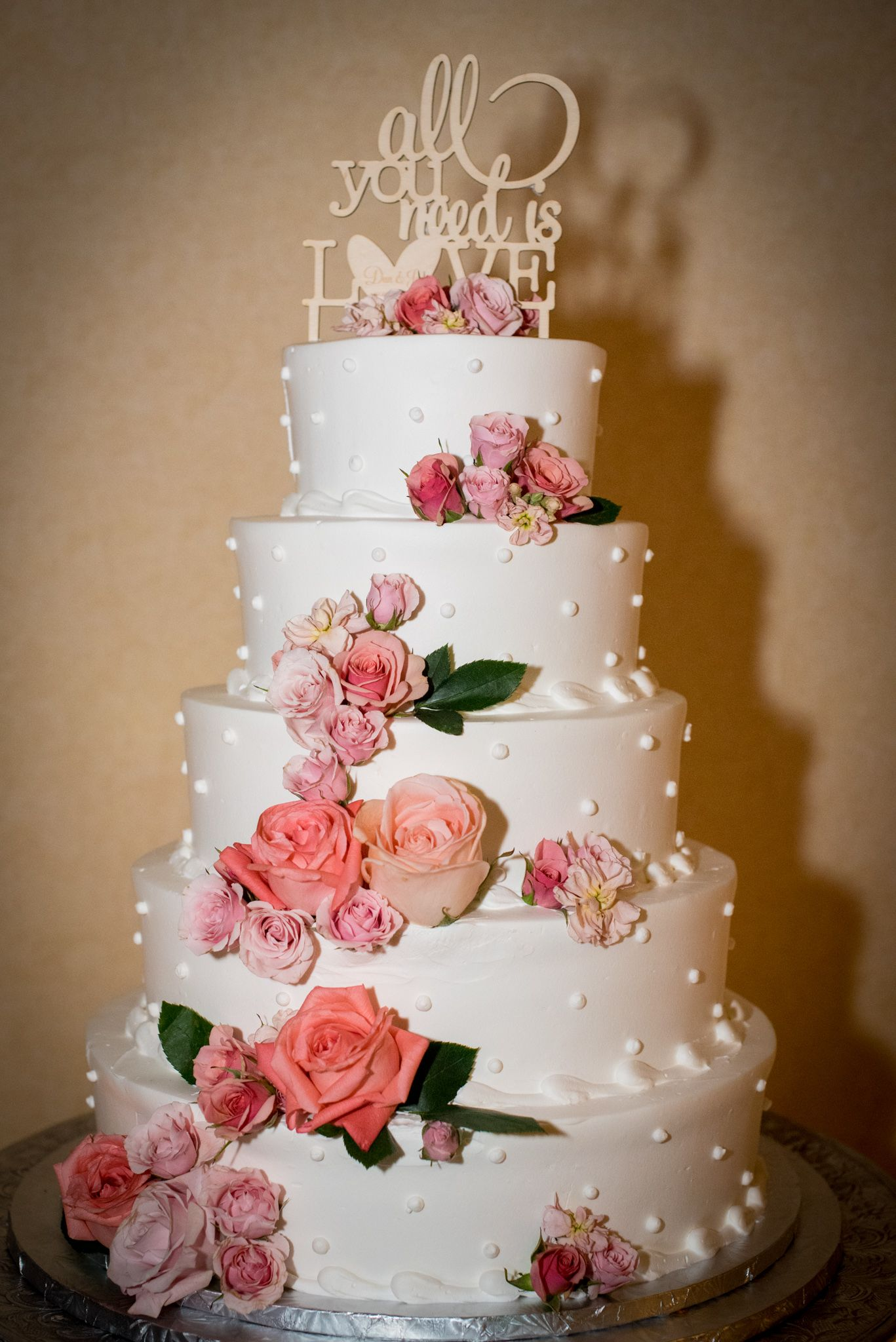 All You Need Is Love 5 Layer White Weddingcake With Gorgeous Pink