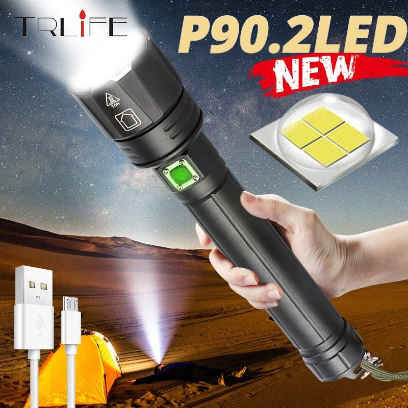 Best Camping Outdoor Emergency Flashlights XHP70.2 10000 Lumen LED Flashlight USB Rechargeable Tactical Flashlights Zoomable Waterproof 5 Modes Power Display with 26650 Battery