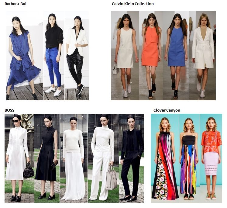 Preview Spring Summer 2015 apparel, shoes and make up by Barbara Bui, Calvin Klein Collection, BOSS, Clover Canyon ----- pre-collezione moda trend Primavera Estate 2015 abbigliamento scarpe accessori e trucco