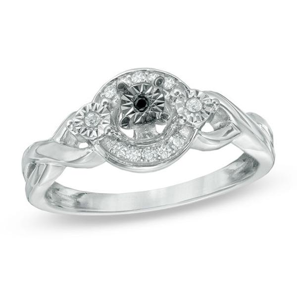1/10 CT. T.W. Enhanced Black and White Diamond Three Stone