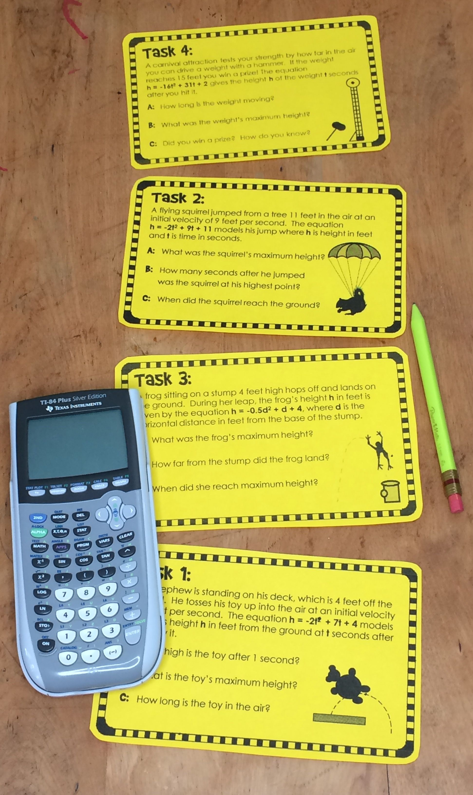 Quadratic Word Problems Projectile Motion Task Cards