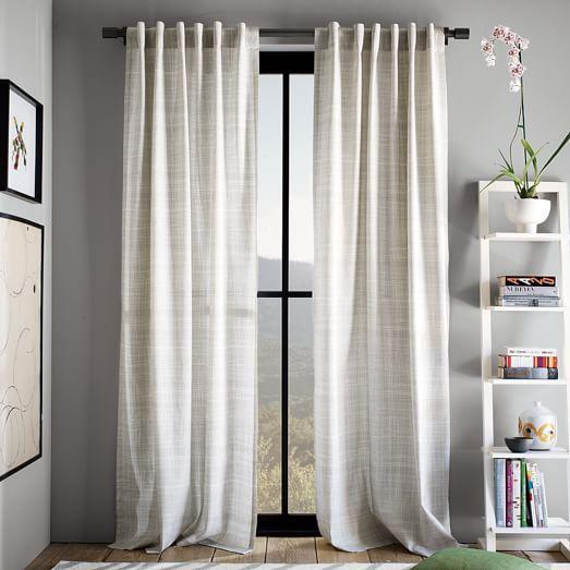 Cotton Canvas Printed Crosshatch Curtain