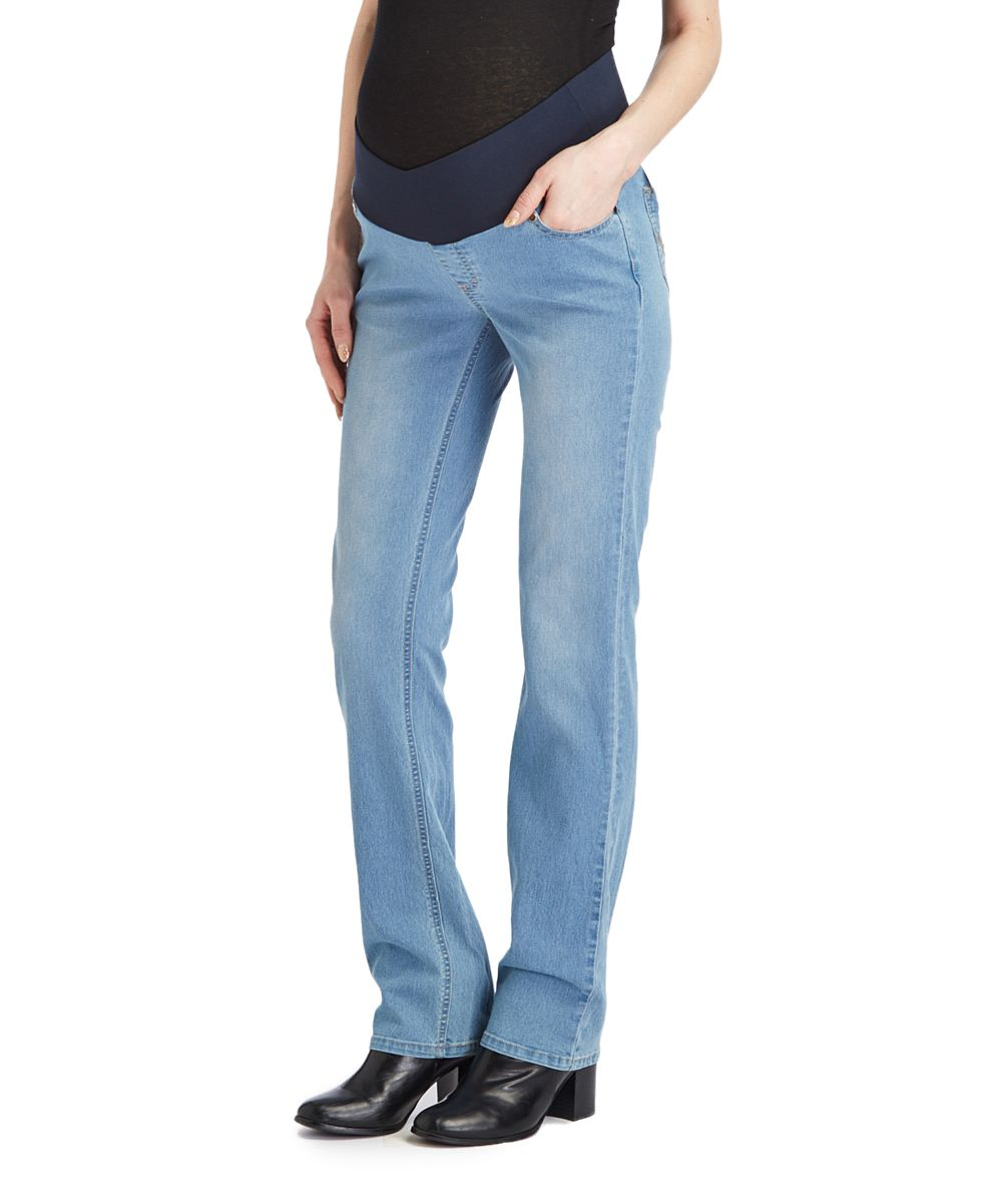 Light Wash Under-Belly Maternity Straight-Leg Jeans