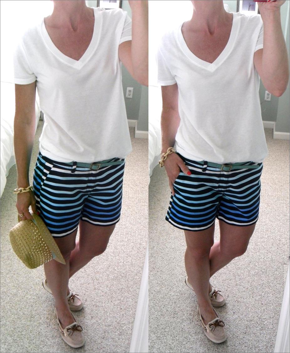 F21 white v-neck t-shirt, Old Navy blue stripe shorts, H&M teal ...