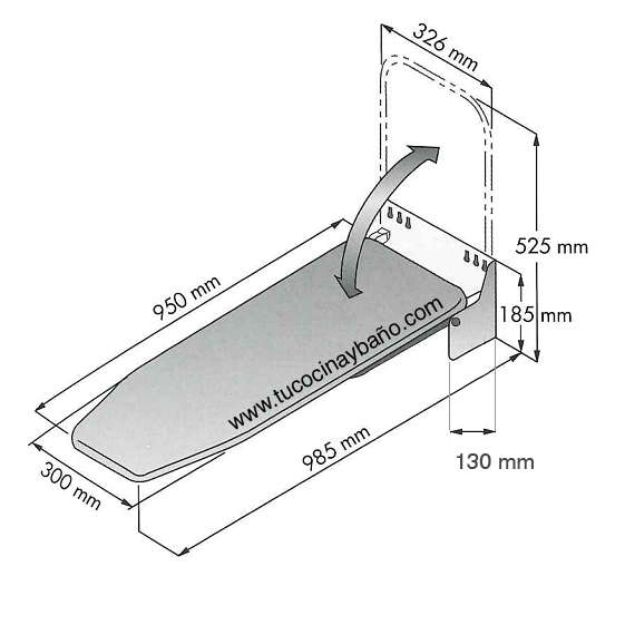 Medidas tabla de planchar plegable para interior de mueble for Medidas de zapateras