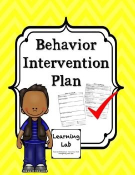 Behavior Intervention Plan  Behavior Interventions Template And