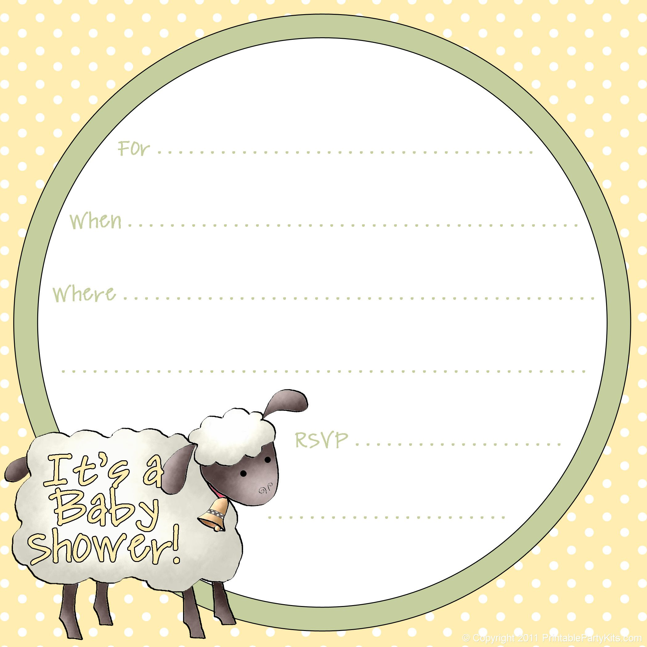 free sheep printables – Free Baby Invitation Templates
